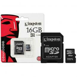 MicroSD 16 Gb Kingston + SD адаптер (class 4)