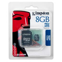 MicroSD 8 Gb Kingston + SD адаптер (class 4)