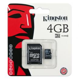 MicroSD 4 Gb Kingston + SD адаптер (class 4)