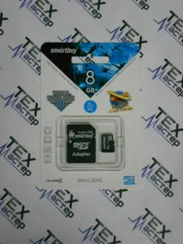 MicroSD 8 Gb Smart Buy +SD адаптер (class 4)